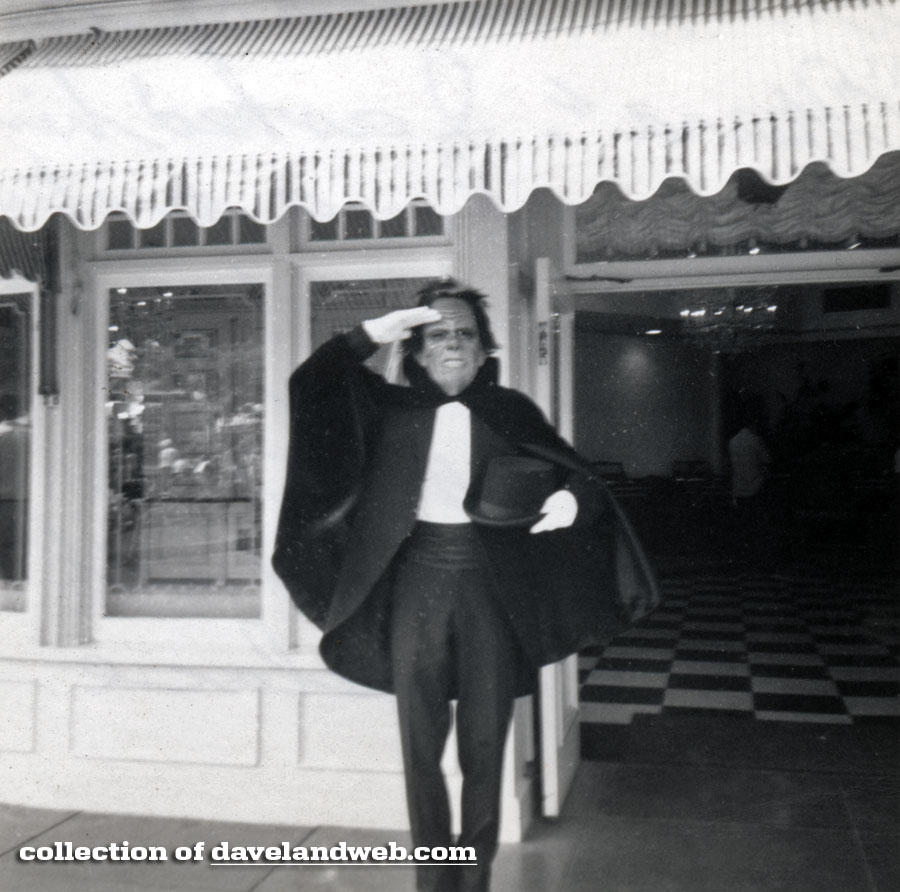 Disneyland vintage photo of the Phantom of the Opera in front of the Wurlitzer Shop, June 1966