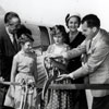 Disneyland Monorail ribbon cutting ceremony with Walt Disney and the Nixon family, June 14, 1959