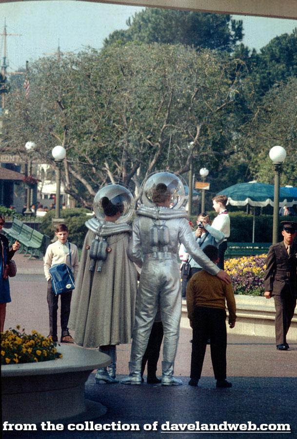 "Tomorrowland's Spacewoman and Spaceman at Disneyland 1960  Photo Print 11x14/"""
